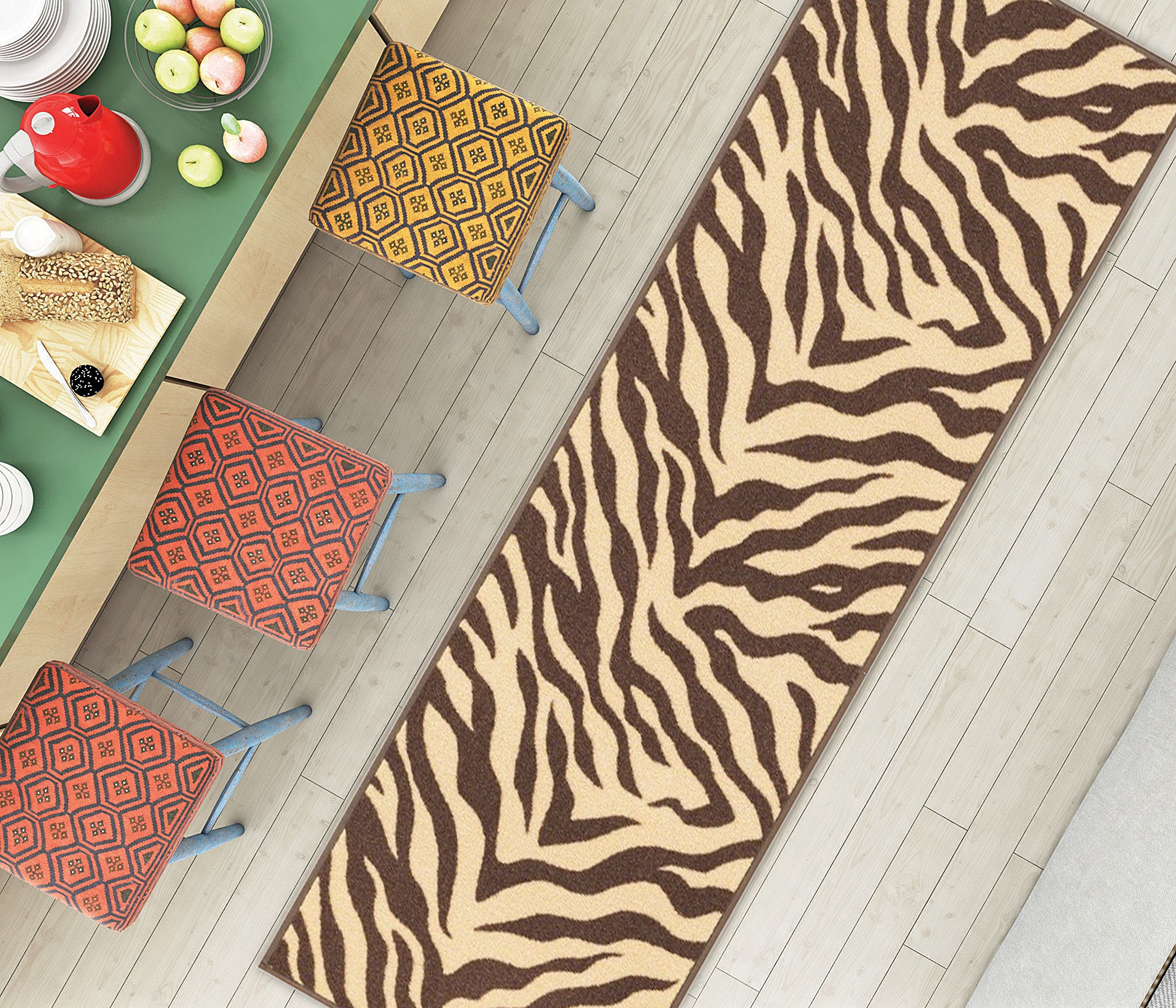 Well Woven Non-Skid Slip Rubber Back Antibacterial 2x5 (1'8'' x 5') Door Mat Runner Rug Brown Zebra Animal Print Stripes Modern Thin Low Pile Machine Washable Indoor Outdoor Kitchen Hallway Entry by Well Woven (Image #3)