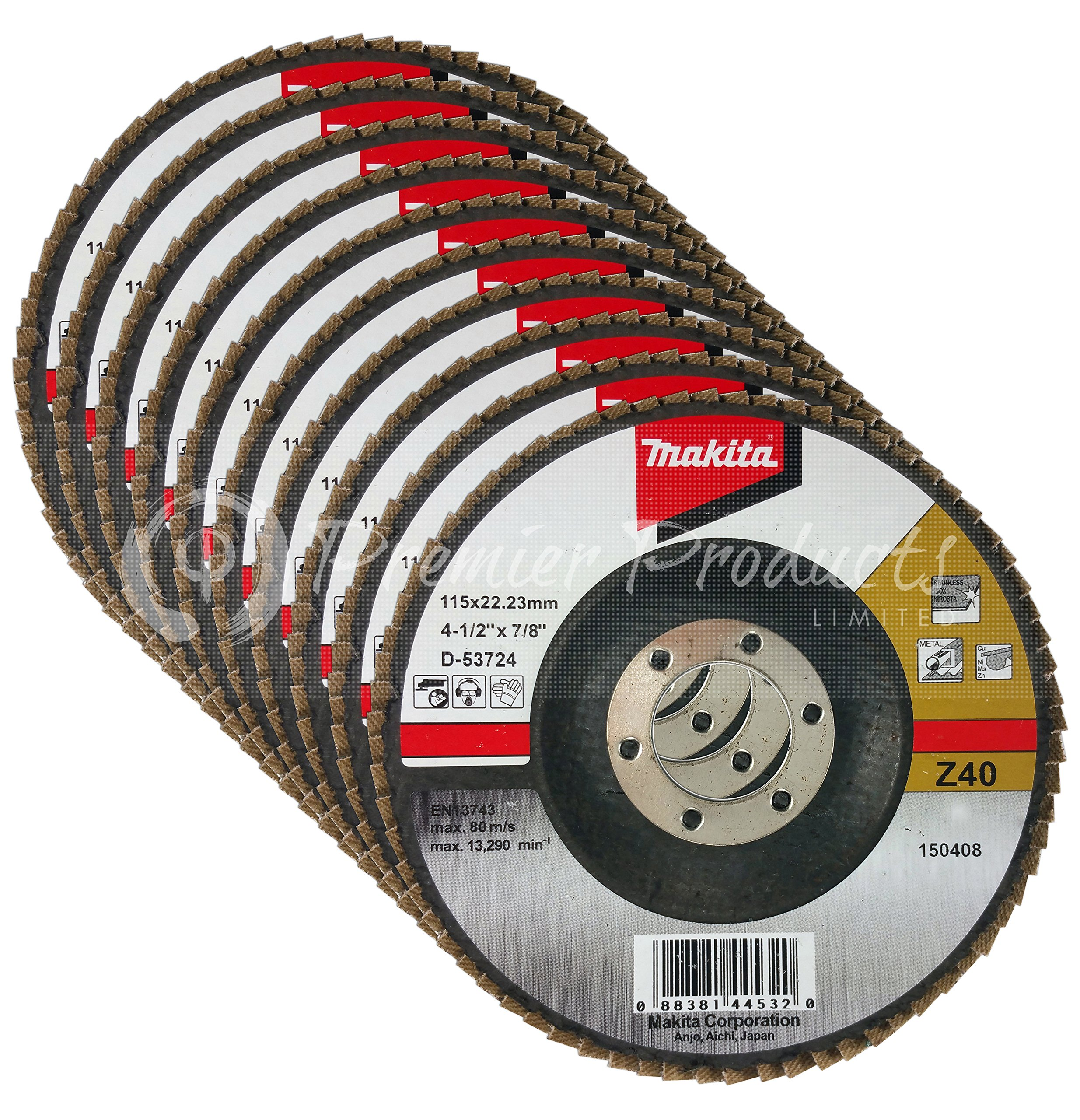 Makita 10 Pack - 40 Grit Flap Disc For Grinders - Aggressive Conditioning For Metal, Stainless Steel & Non-Ferrous - 4-1/2'' x 7/8-Inch | Z40 Angled