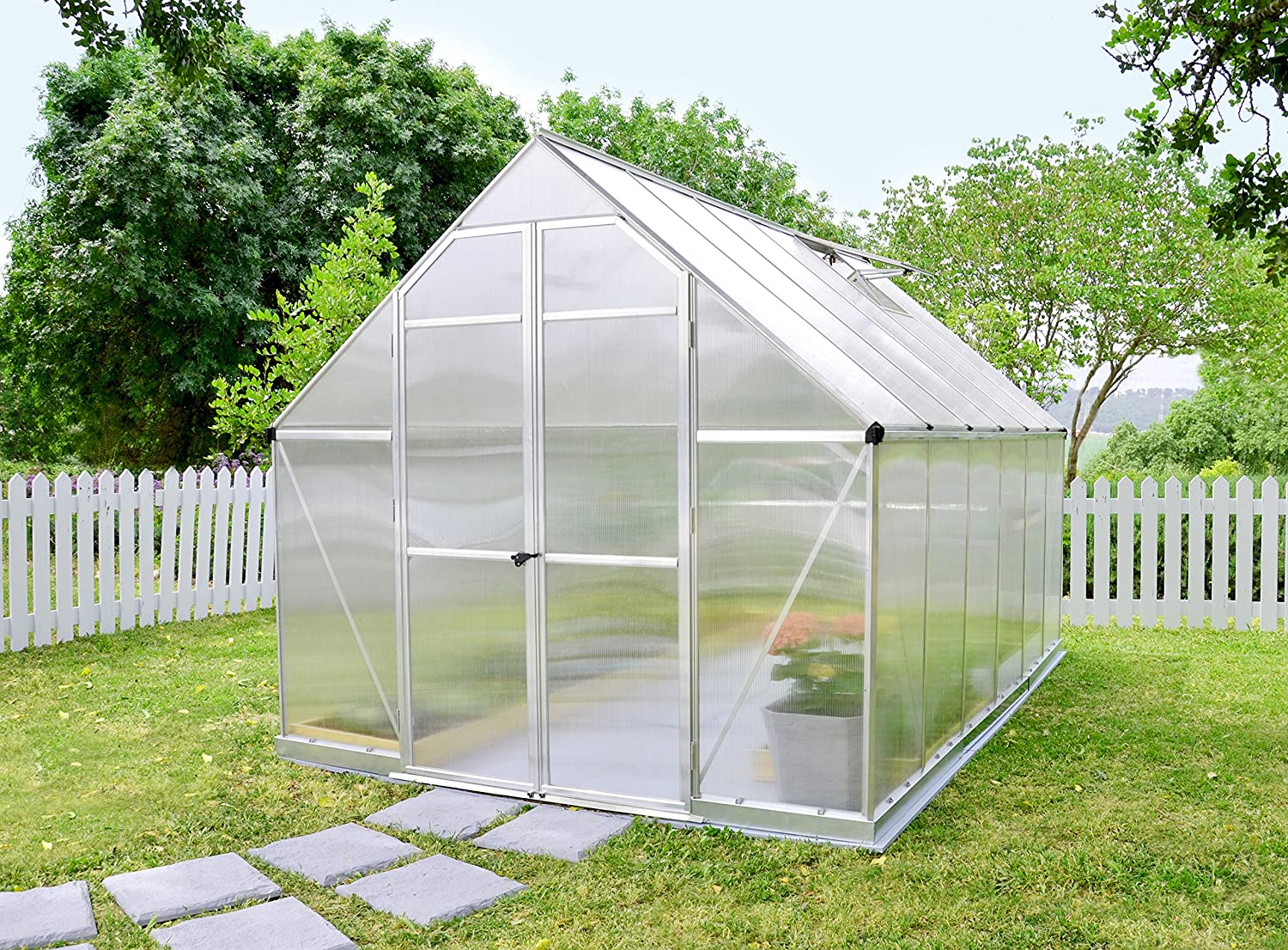 amazoncom palram nature series essence hobby greenhouse 8u0027 x 12u0027 x 8u0027 silver greenhouses for sale garden u0026 outdoor