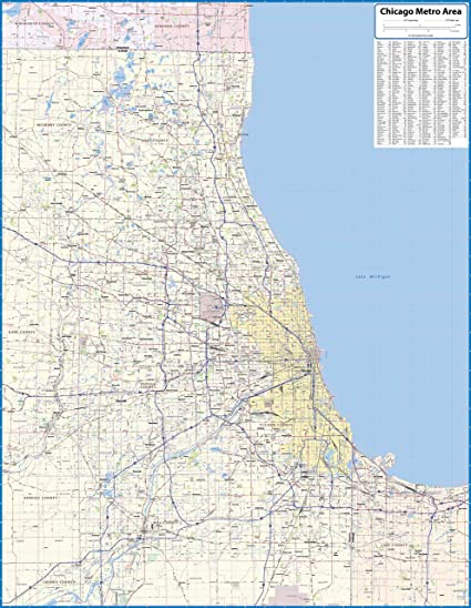 Amazon.com : Chicago Metro Area Laminated Wall Map (54\
