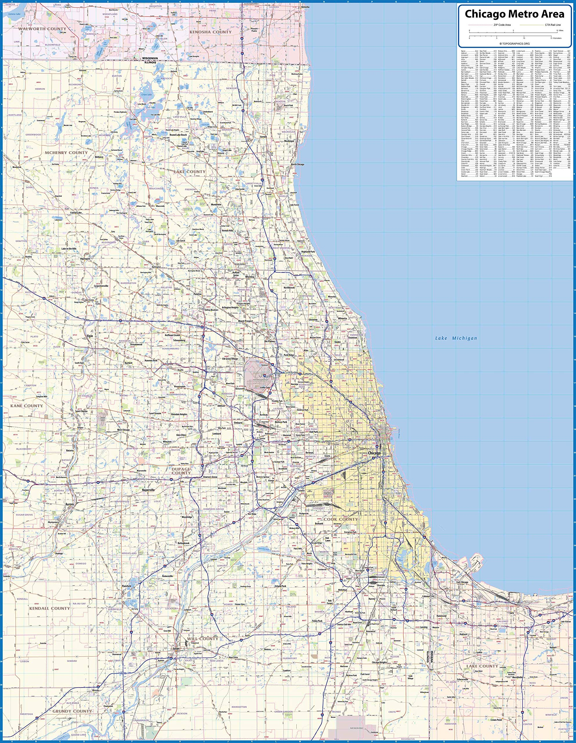 Chicago Metro Area Laminated Wall Map (42''x54'')