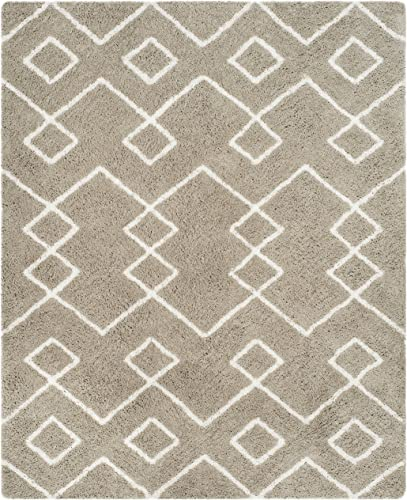 Safavieh Toronto Shag Collection SGT609C Silver and Ivory Area Rug 8 x 10