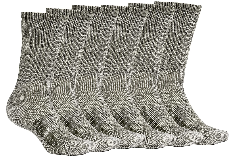 FUN TOES Men's Merino Wool Socks 6 PAIRS Value- Lightweight, Reinforced-Size 8-12 Reinforced-Size 8-12 (Green)