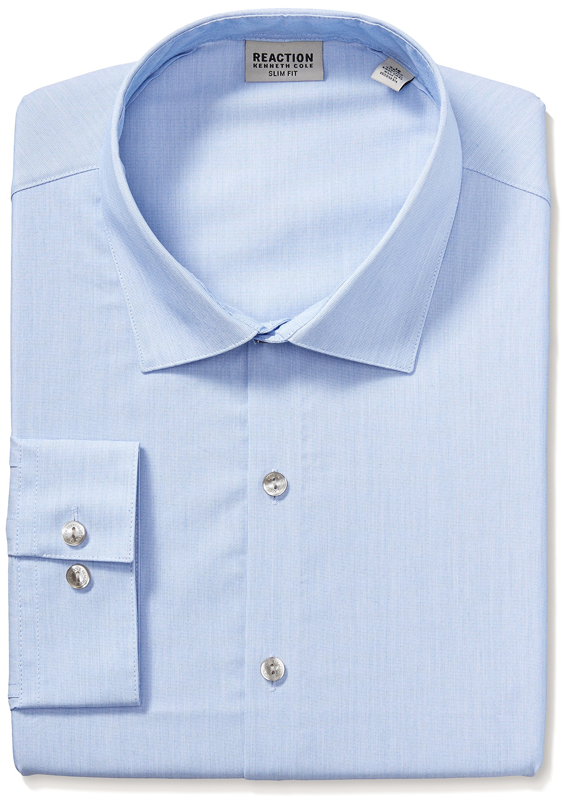 Kenneth Cole REACTION Men's Big and Tall Dress Shirt Slim Fit Technicole Stretch Solid, Blue Jay, 18'' Neck 36''-37'' Sleeve (XX-Large)