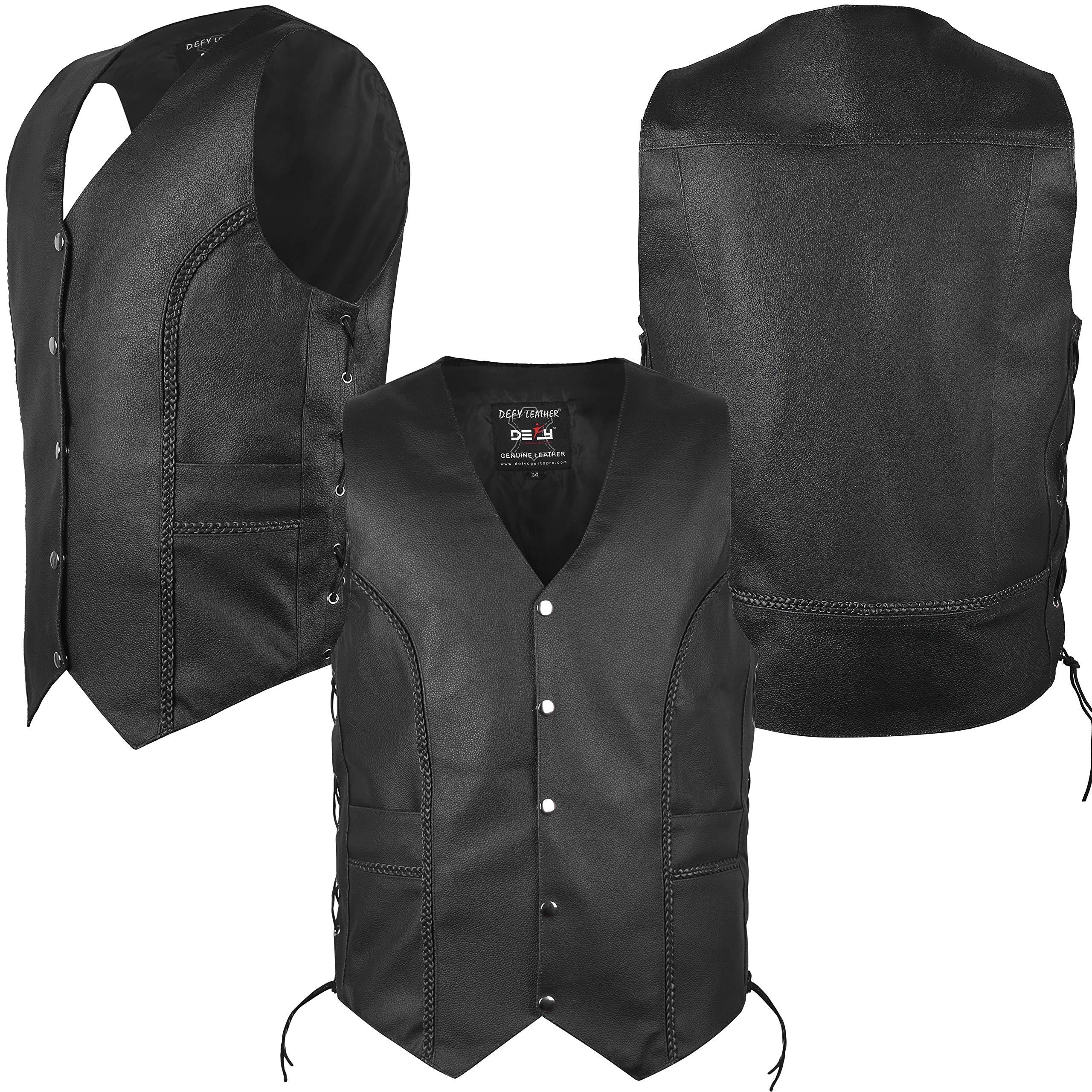 Men's Motorcycle Leather Vest Cowhide Leather Biker Vest Side Laces Inside Pockets Braided (2XL)