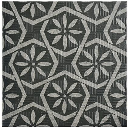 SomerTile FEQABBK Ruan Porcelain Floor Wall Tile X - 6x6 black floor tile