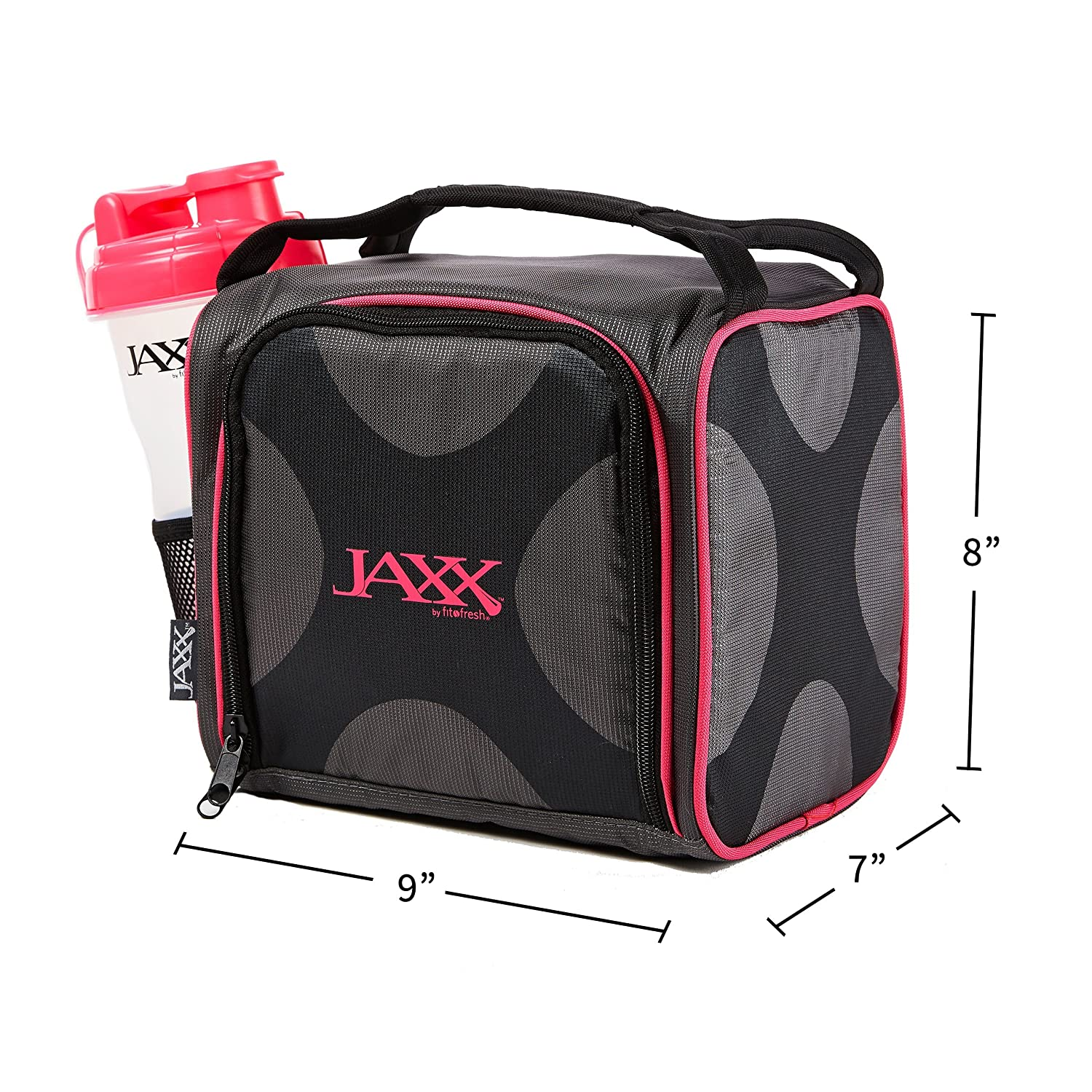 Fit and Fresh Original Jaxx FitPak Insulated Cooler Lunch Box Meal Prep Bag with Portion Control