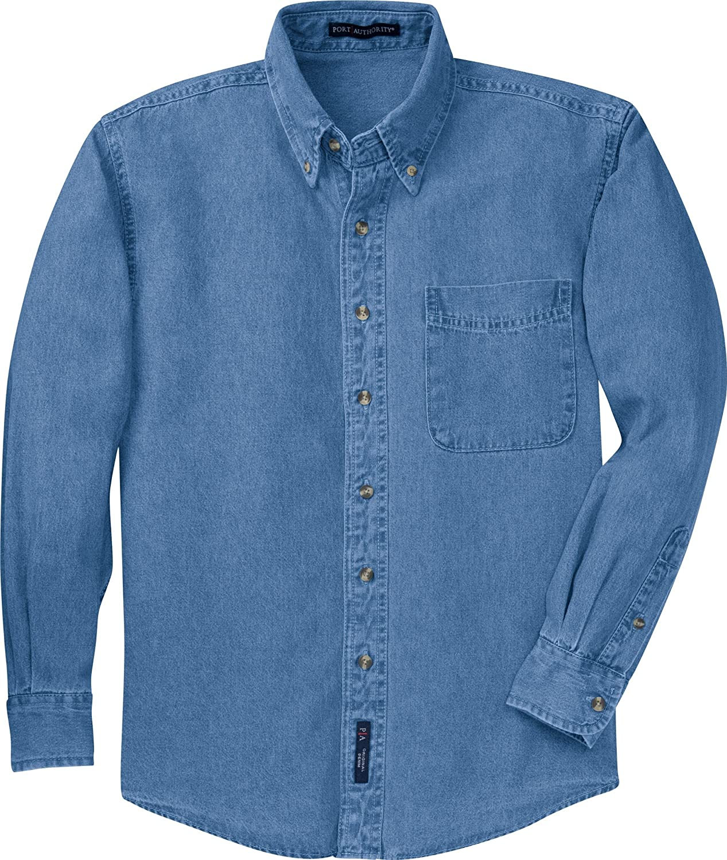 fd532fdefae Port Authority Men s Tall Long Sleeve Denim Shirt at Amazon Men s Clothing  store