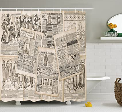 Ambesonne Old Newspaper Decor Shower Curtain By Nostalgic Aged Pages With Antique Advertising Fashion Magazines