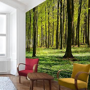 Apalis Waldtapete Vliestapete Waldwiese Fototapete Wald Quadrat ...