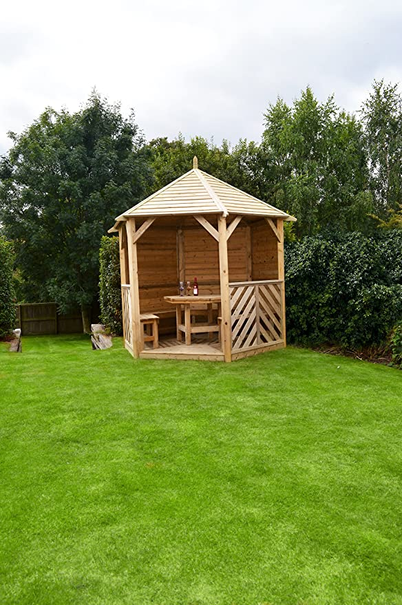 HGG – Enclosed Gazebo con mesa y bancos – Carpa con laterales – Cenadores de madera y pérgolas – Patio al aire libre muebles de jardín de madera maciza: Amazon.es: Jardín