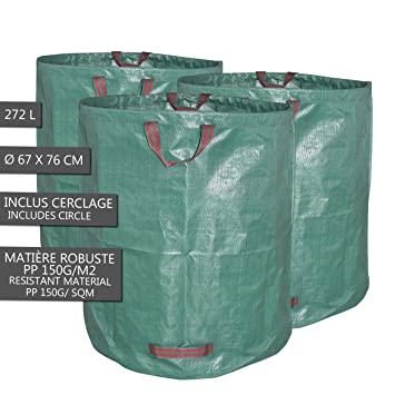 Bolsa de residuos de jardin | Paquete de 3 272 litros - 72 ...