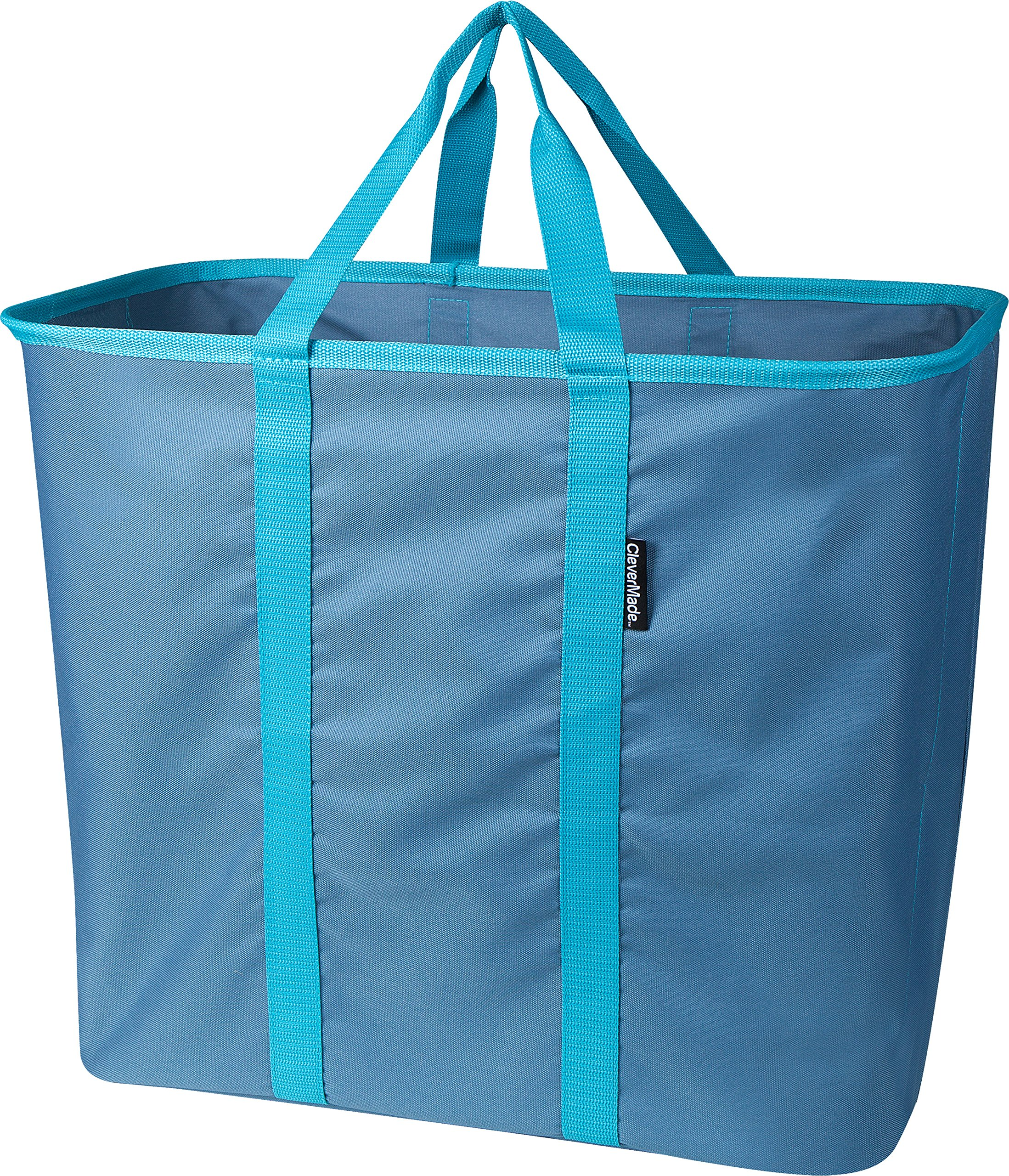 CleverMade Collapsible Laundry Basket, Large Foldable Clothes Hamper Bag, SnapBasket LaundryCaddy CarryAll Pop Up Storage Tote, Blue/Dusty Teal