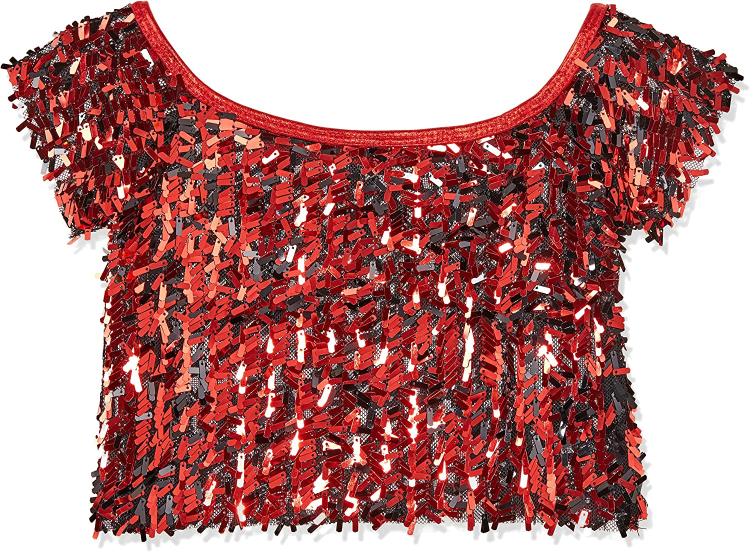 Gia Mia Girls Big Sequin Cropped Tee Dance Jazz Hip Hop Costume Performance Team