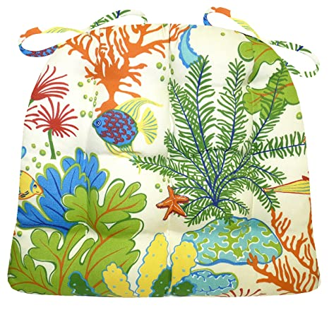 Medium Patio Chair Cushion  Tropical Fish  Indoor/Outdoor: Mildew  Resistant/ Fade