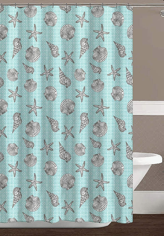 Ocean Sea Shell Starfish Design Miami Turquoise Gray White Fabric Shower Curtain