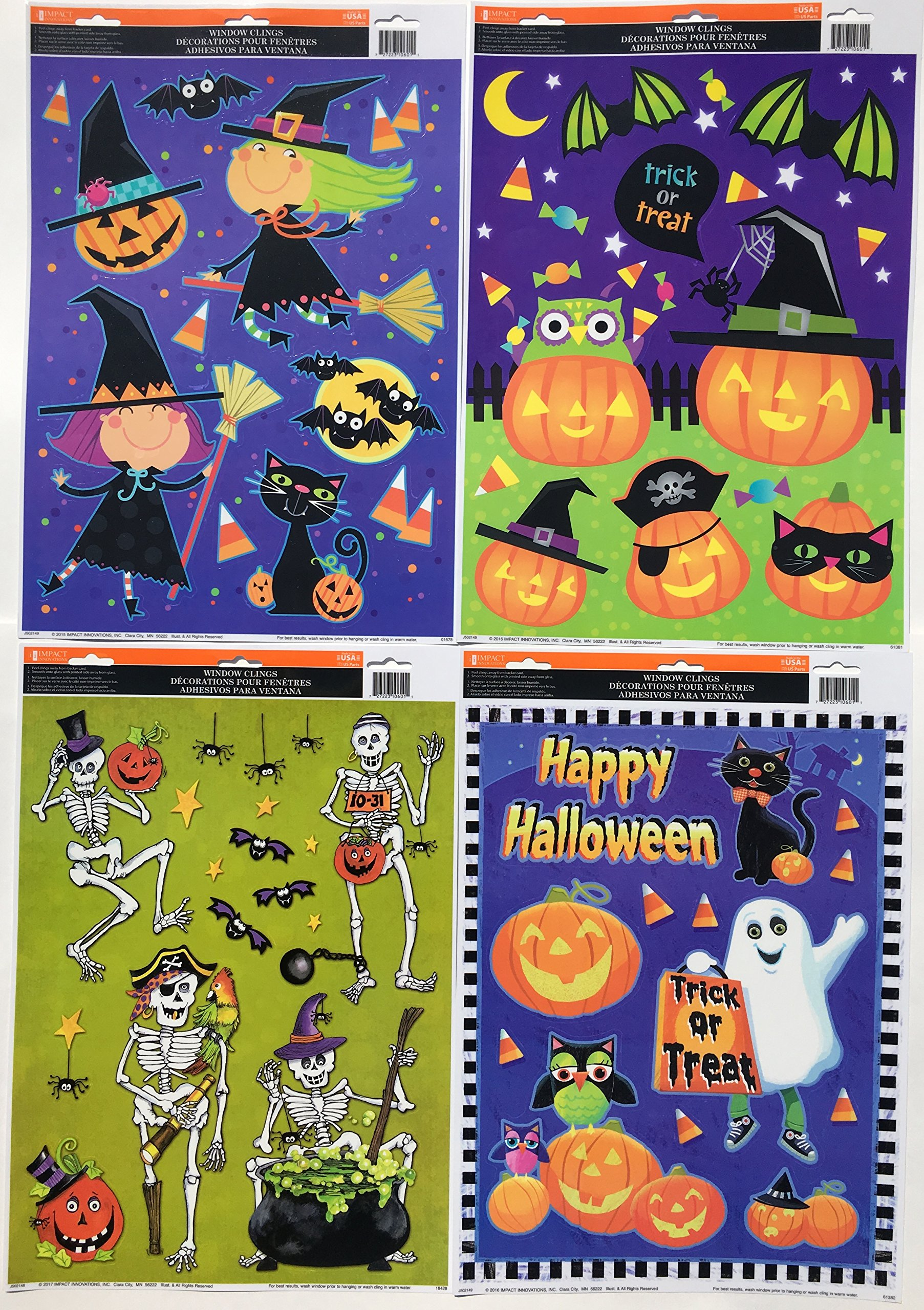 Trick or Treat! Halloween Window Clings, 4 Sheets!