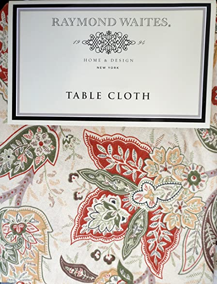 Raymond Waites Fabric Tablecloth Green Red Brown Yellow Floral Paisley  Autumn Fall Pattern On Cream 60