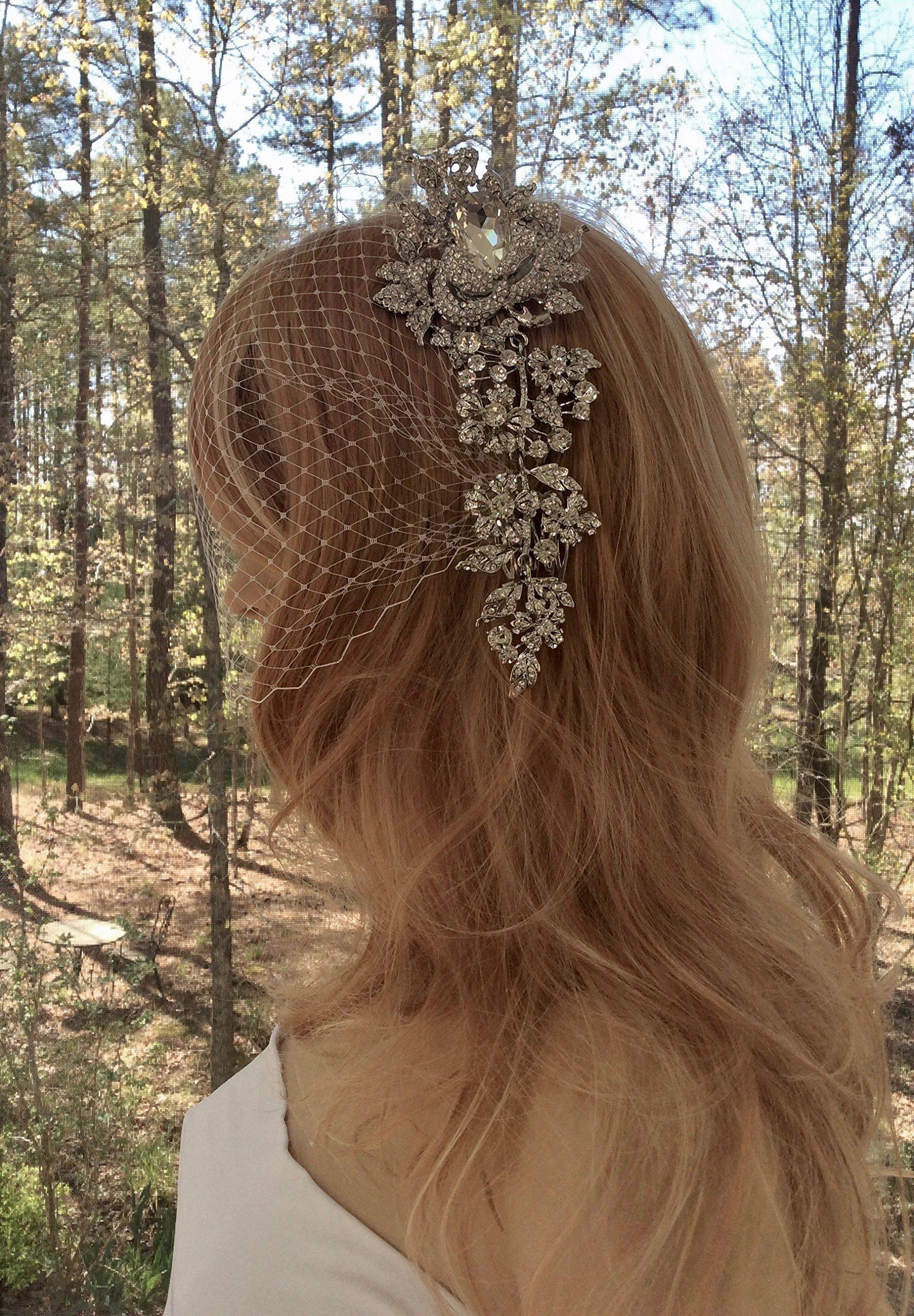 Rhinestone Comb with Bandeau Veil, Bandeau Birdcage Bridal Veil, Wedding Veil