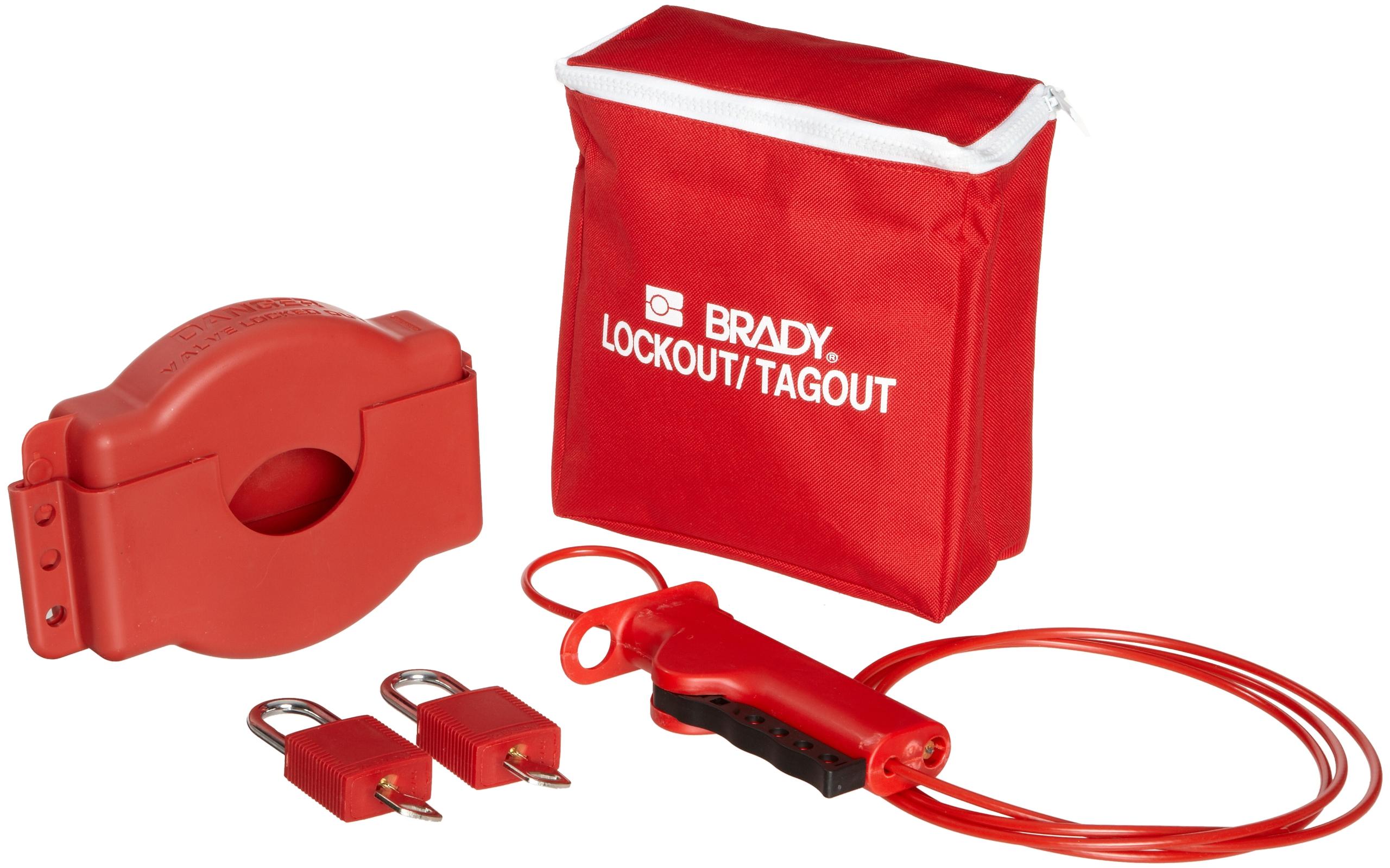 Brady Gate Valve Lockout Pouch Kit, Includes 2 Safety Padlocks and 2 Tags