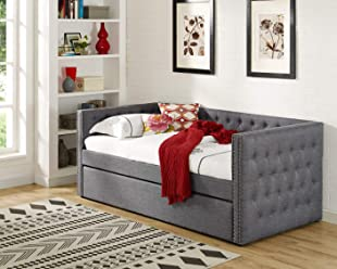 e9f182de2338 Best Master Furniture LT001 Laura Tufted Daybed + Trundle Twin Grey