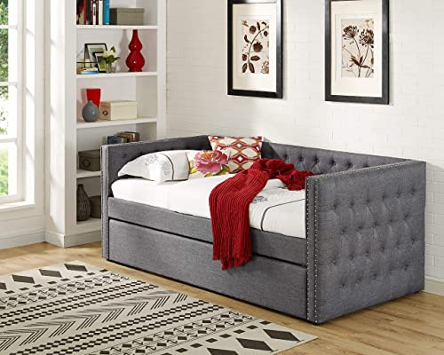 Best Master Furniture Laura Tufted Daybed Trundle, Twin, Grey