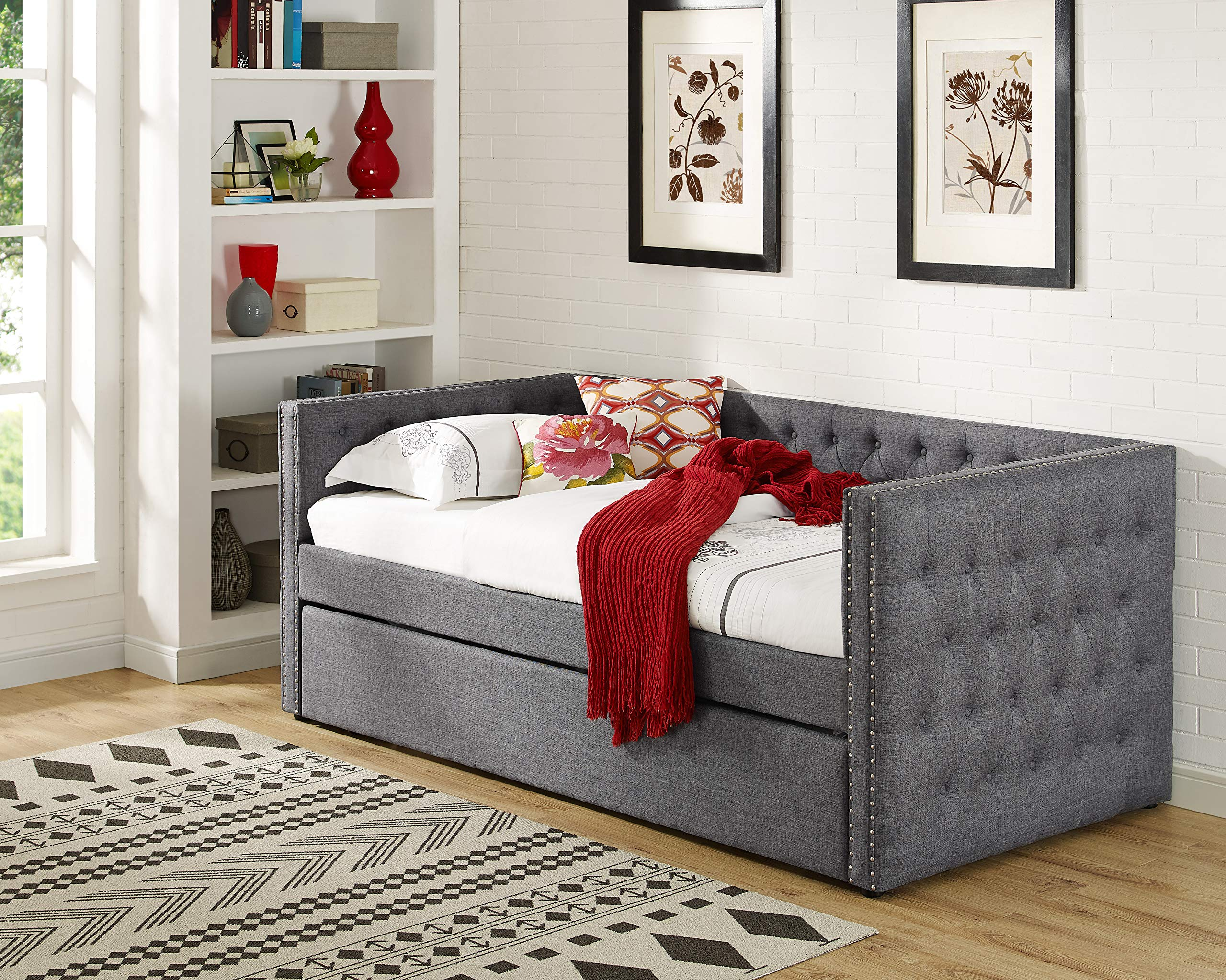 Best Master Furniture LT001 Laura Tufted Daybed + Trundle, Twin, Grey