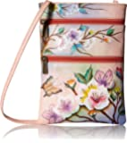 Anuschka womens Anuschka Women's Genuine Leather Hand Painted Double Zip Travel Crossbody Bag