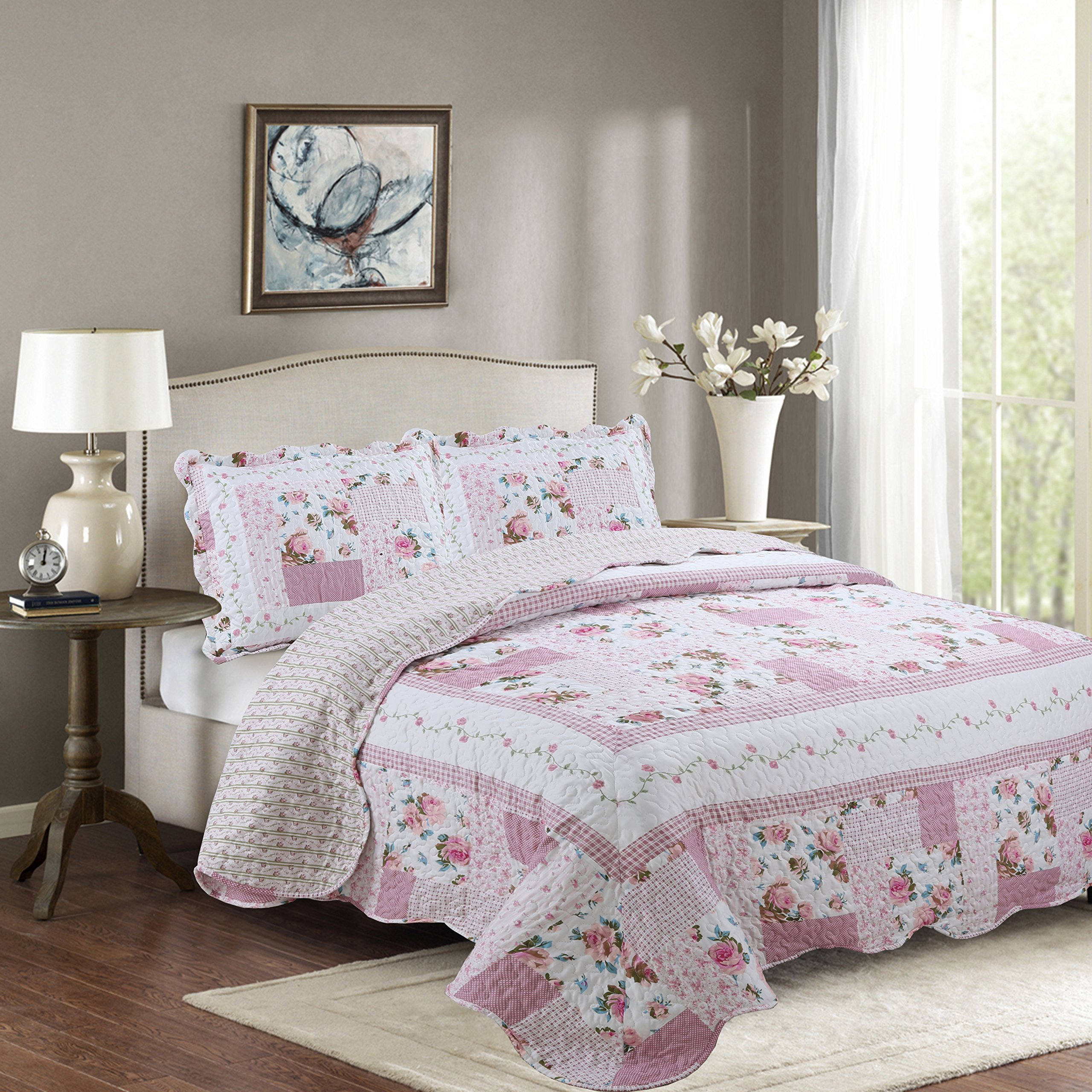 Fancy Collection 2pc Twin/Twin Extra Long Bedspread Bed Cover Floral White Pink Green Reversible New # Melody