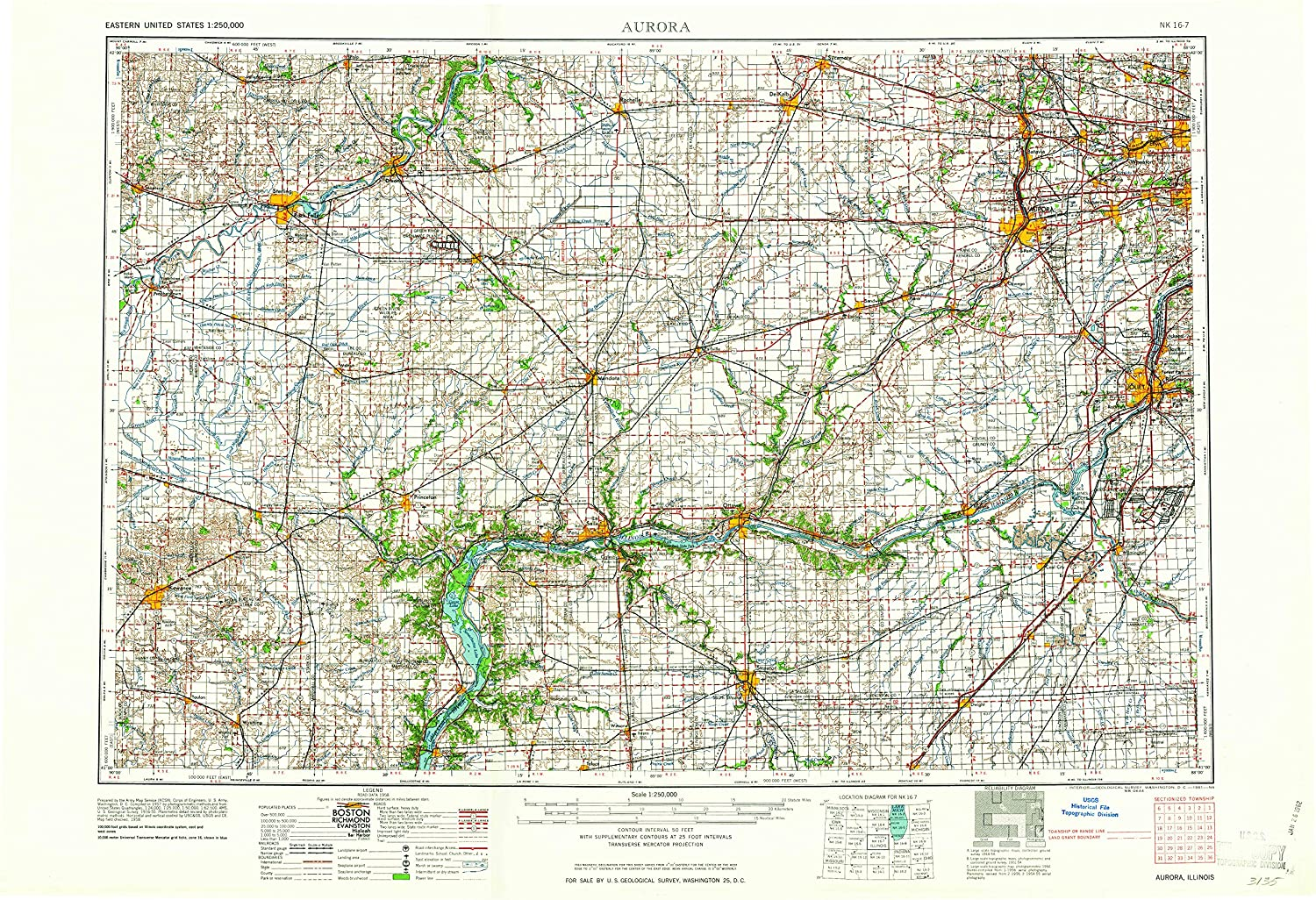Amazon Com Yellowmaps Aurora Il Topo Map 1 250000 Scale 1 X 2