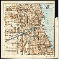 Mapa antiguo - chicago-ee.uu, - Karl baedeker-combinaropcionesdocumentonuevo Debes-1909