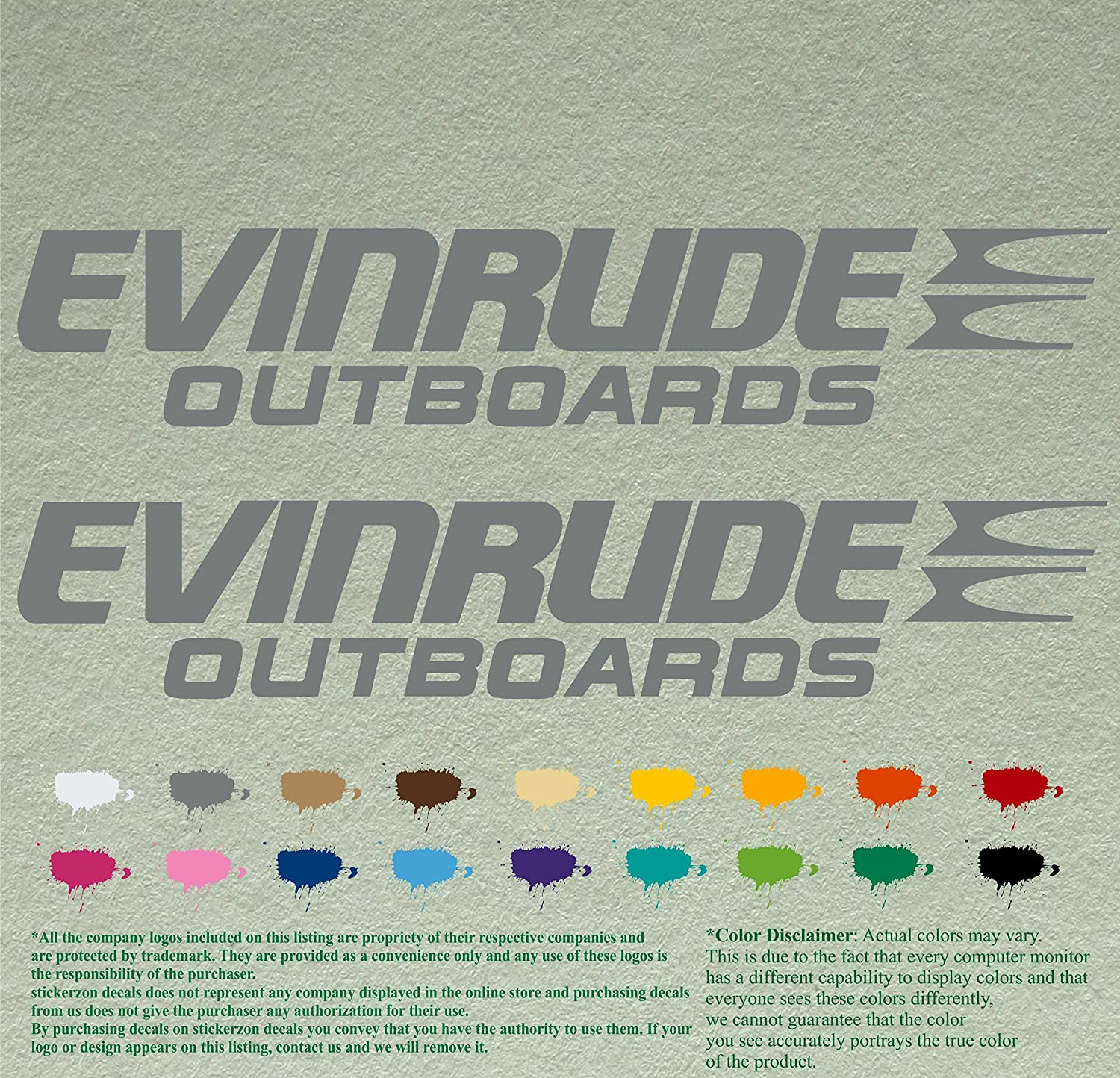 Pair of Evinrude Outboards Decals Vinyl Stickers Boat Outboard Motor Lot of 2 (12 inch, Grey 071)