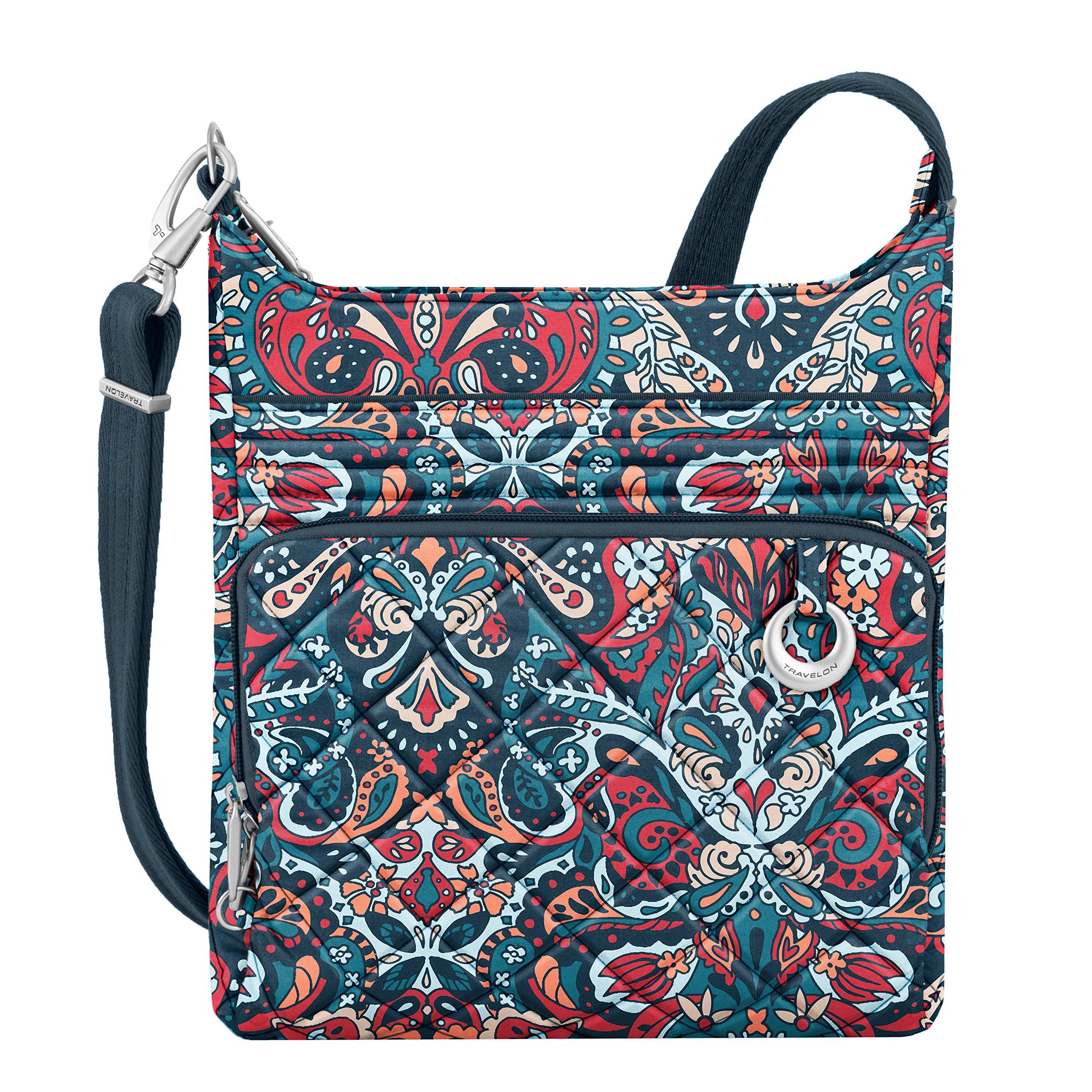 Travelon Women's Anti-Theft Boho N/s Crossbody Cross Body Bag, Summer Paisley, One Size