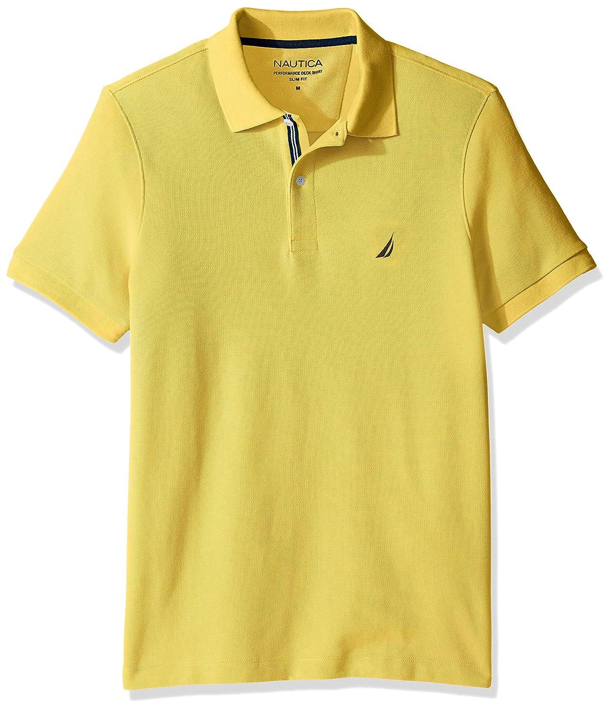 ノーティカMen 'sスリムフィット半袖ソリッドポロシャツ B073KFM4WQ Medium|Mustard Field Mustard Field Medium