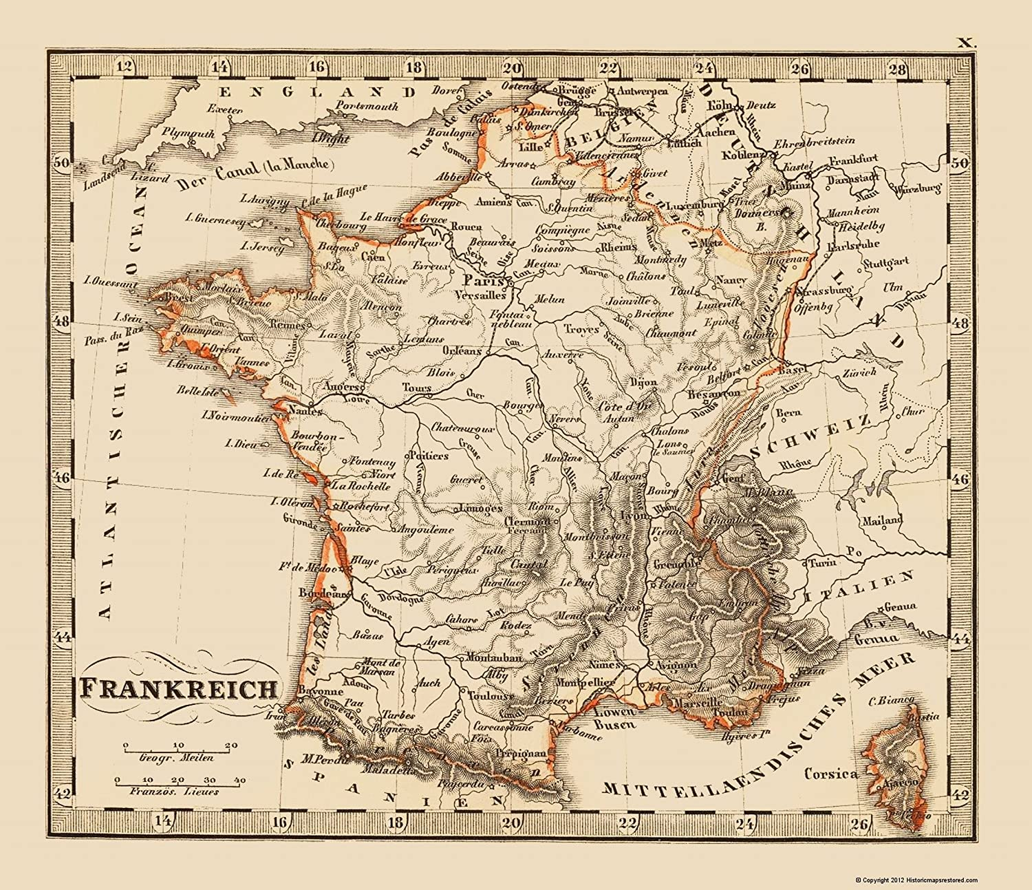 Map Of France 1500.Amazon Com Old France Map France Stieler 1852 23 X 26 69