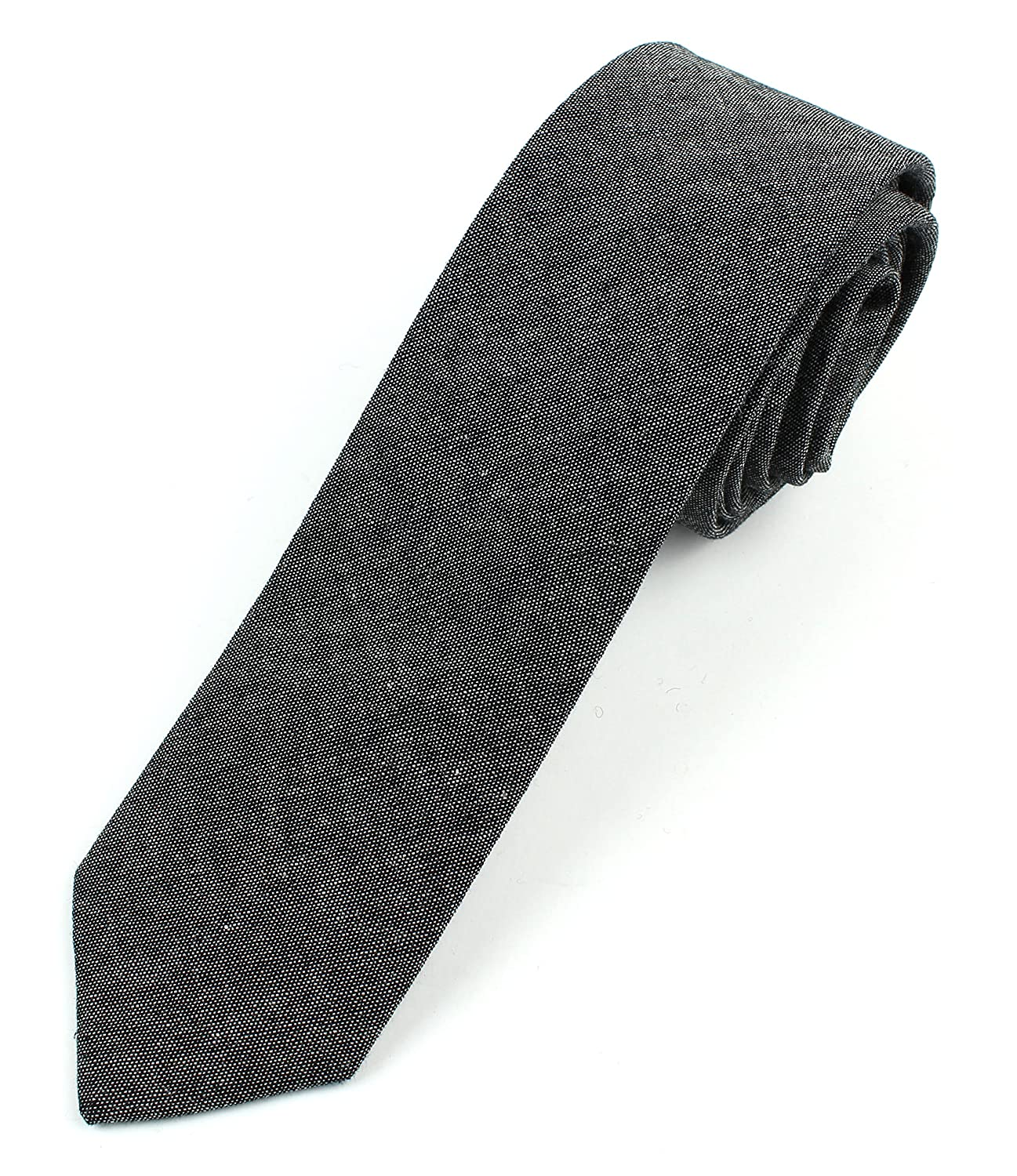 499359726af7 Men's Chambray Cotton Skinny Necktie Tie - Black at Amazon Men's Clothing  store: