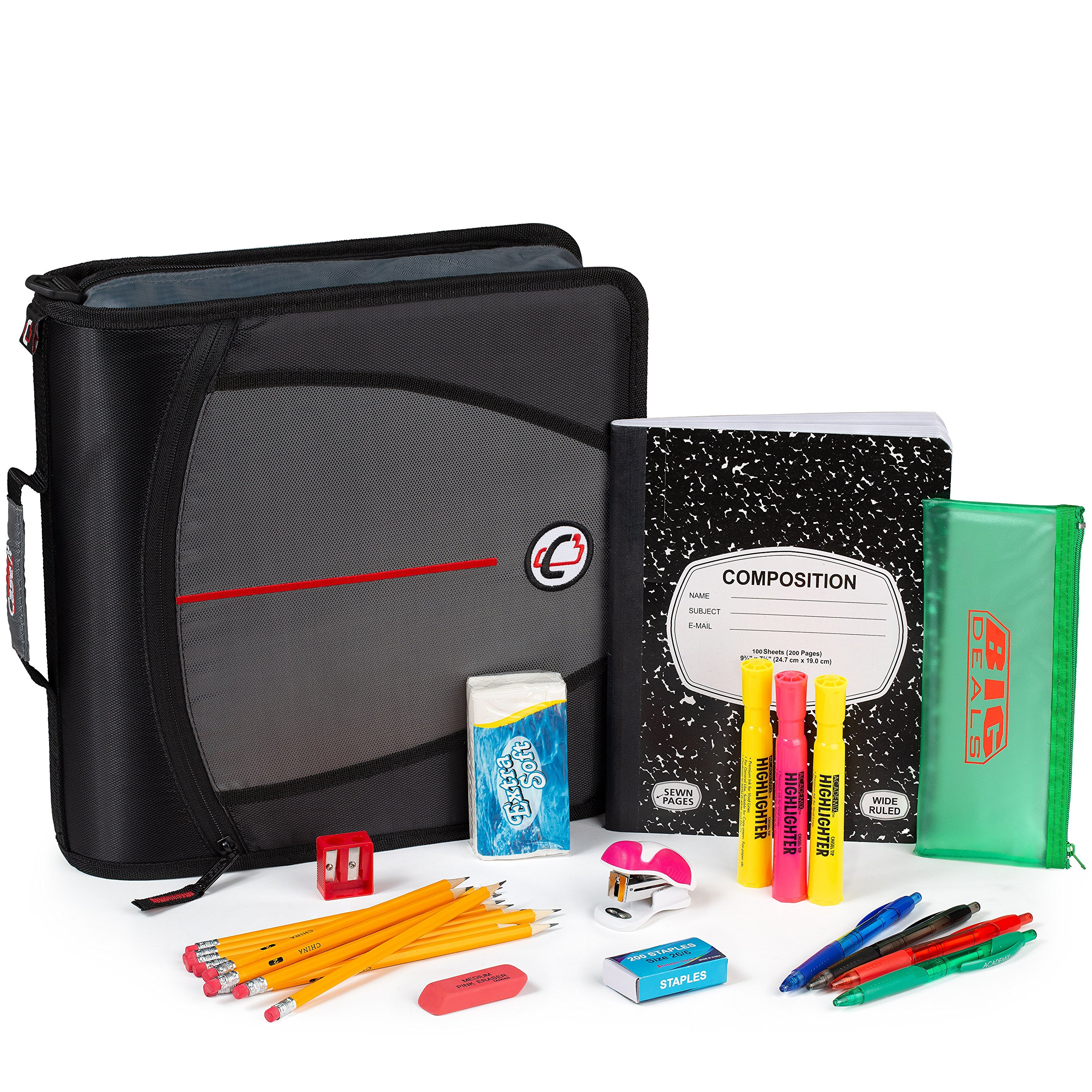 Back to School Supply Bundle, of School Supplies for All Grade Levels - Perfect for High School & College Students – 3 Ring Case it binders, Pencils, Pens, Highlighters, Notebook and More by Sooboo (Image #1)