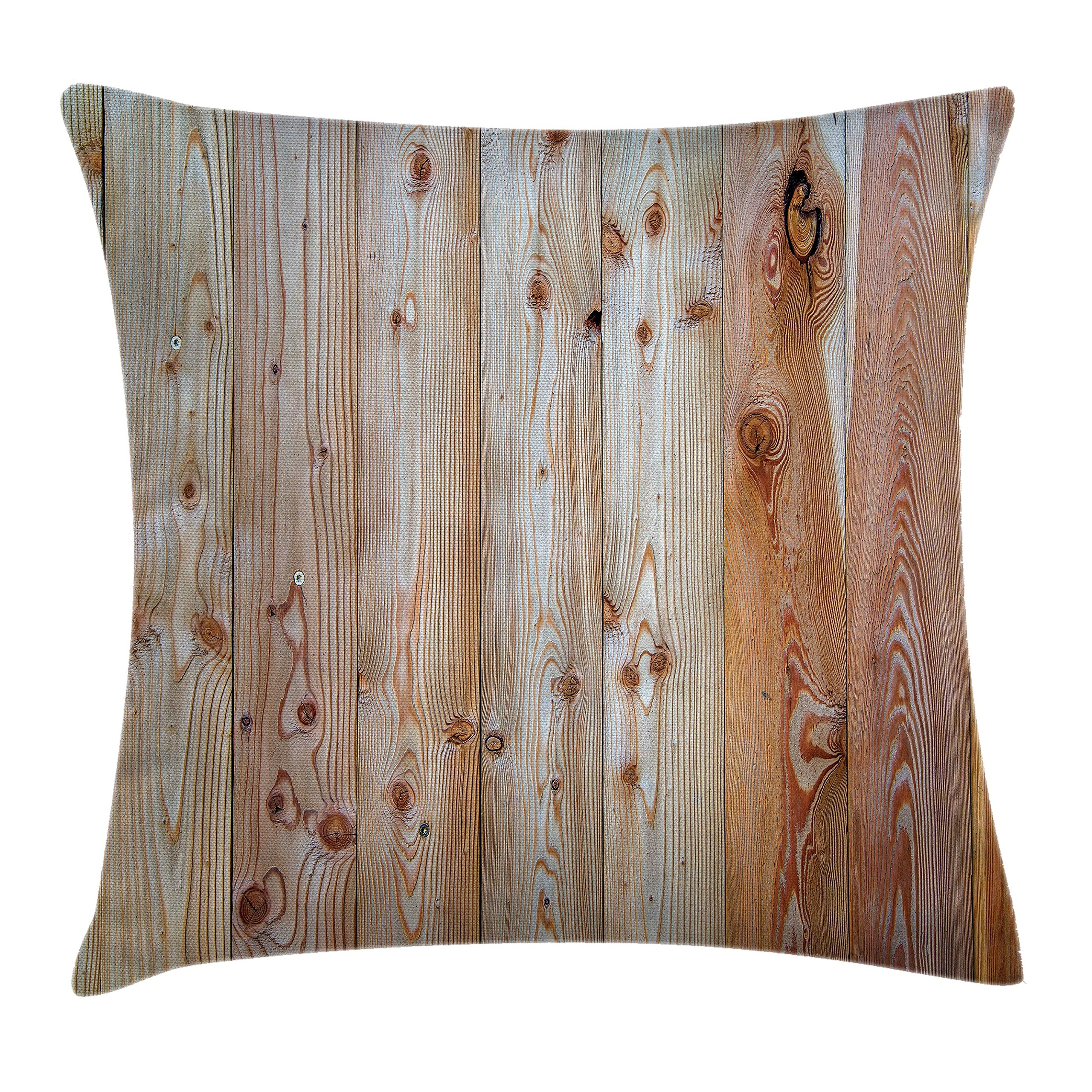 Ambesonne Rustic Home Decor Throw Pillow Cushion Cover by, Monochrome Wood Minimalist Rough Lined Up Tiled Logs Row Plank Surface Image, Decorative Square Accent Pillow Case, 24 X 24 Inches, Cream