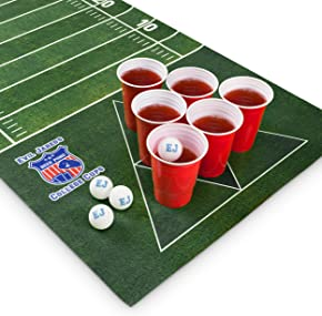 Evil Jared Hasselhoff EVIL JARED's Tappetino da Beer Pong 180 x 60 cm | 60 Bicchieri rossi + 6 Palline da Ping Pong | Design Football Americano