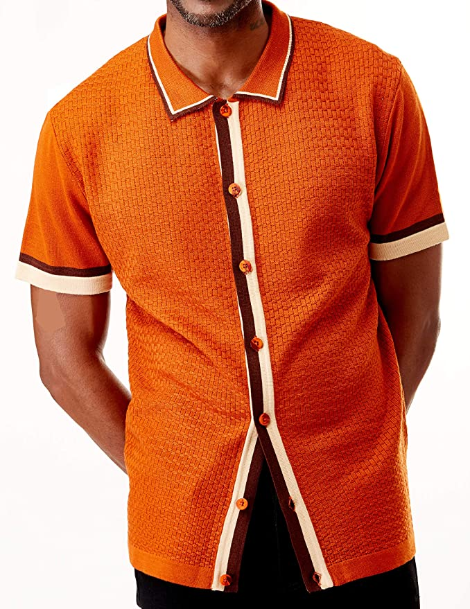 Mens Vintage Shirts – Retro Shirts Men's Short Sleeve Knit Sports Shirt - Modern Polo Vintage Classics: Solid Geometric Jacquard with Color Tipping $49.00 AT vintagedancer.com