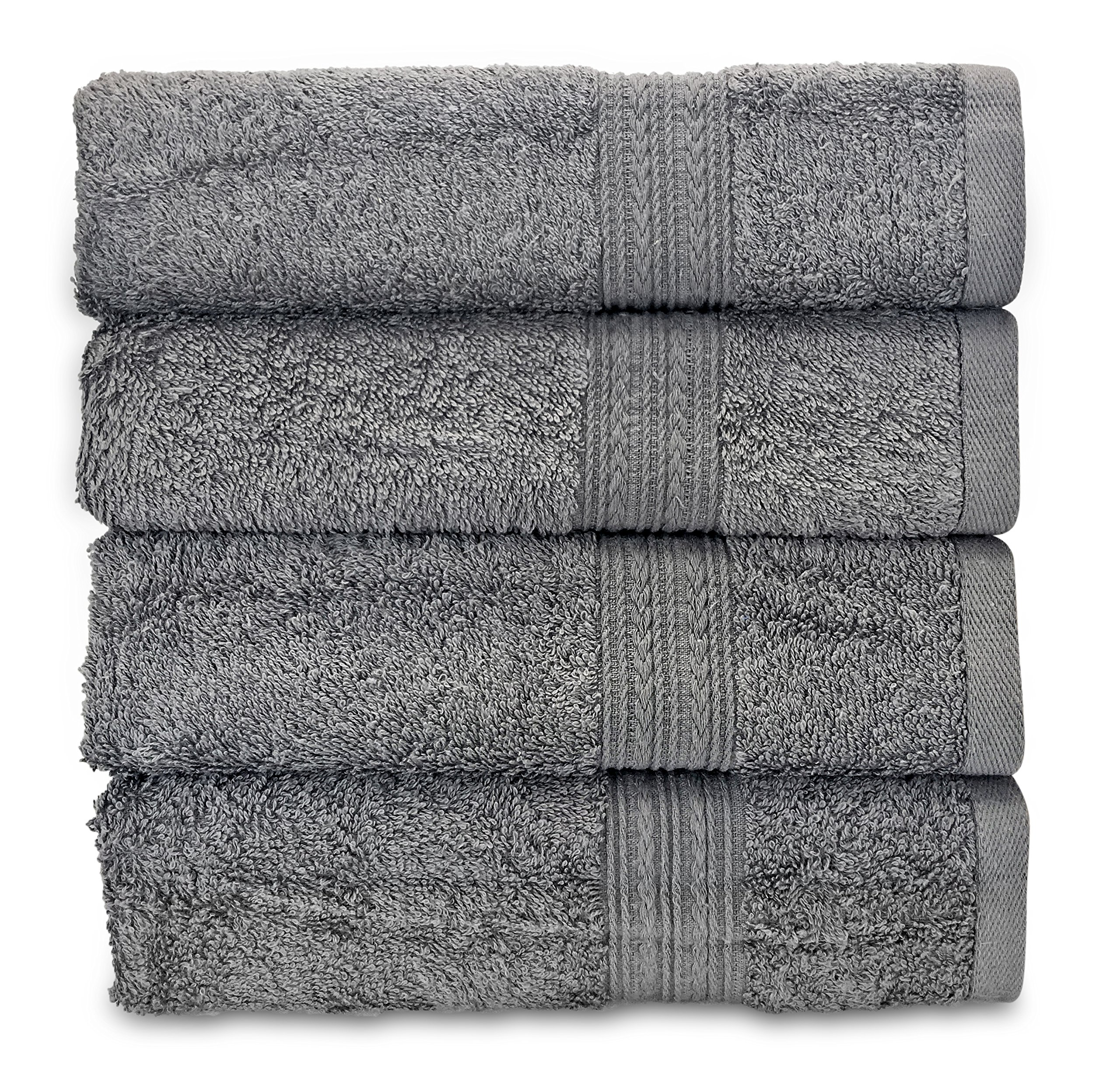Goza Towels Cotton Hand Towels, 16 by 28 inch (4 Pack) (Grey)