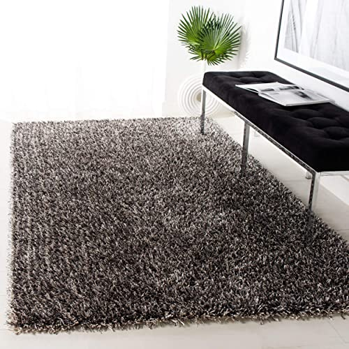 Safavieh New Orleans Shag Collection SG531-7612 Platinum and Ivory Polyester Area Rug 4 x 6