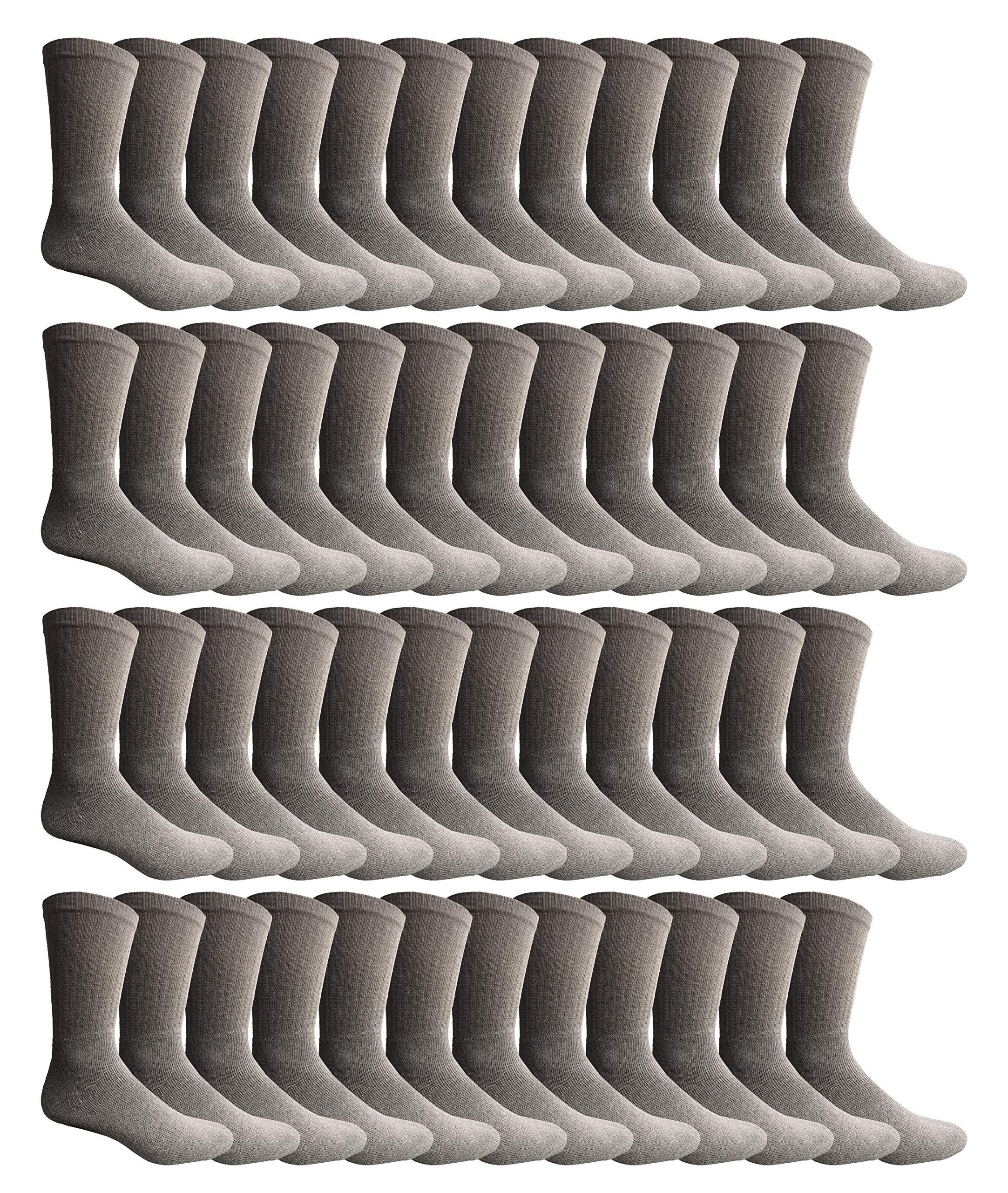 Yacht & Smith 60 Pairs of Kids Sports Crew Socks, Wholesale Bulk Pack Sock for Boys & Girls, by SOCKS'NBULK (6-8 Boys, Gray) by Yacht & Smith