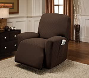 Stretch Sensations, Newport Recliner Slipcover, Standard Recliners, Perfect Chair Protection, Comfortable and Easy Stretch Fabric (Chocolate)