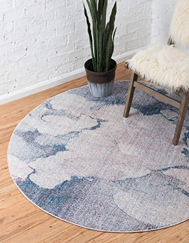 Unique Loom Rainbow Collection Modern Abstract Watercolor Blue Gray Round Rug 6 0 x 6 0
