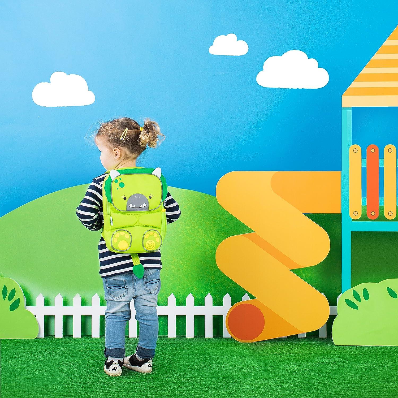 ToddlePak Dudley le Dinosaure Trunki Sac /à Dos Cartable Haute Visibilit/é pour Enfants Vert