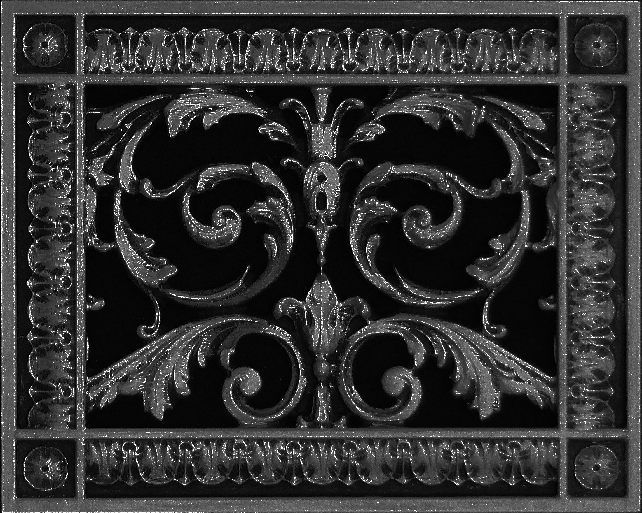 """Decorative Vent Cover, Grille, Return Register, Made of Urethane Resin, in French Style fits Over a 6""""x8"""" Duct Opening. Total Size, 8"""" x 10"""", Walls & Ceilings use only(not for Floors) (Black)"""