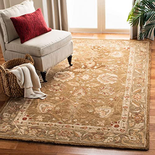 Safavieh Anatolia Collection AN512F Handmade Traditional Oriental Brown and Green Premium Wool Area Rug 5' x 8'