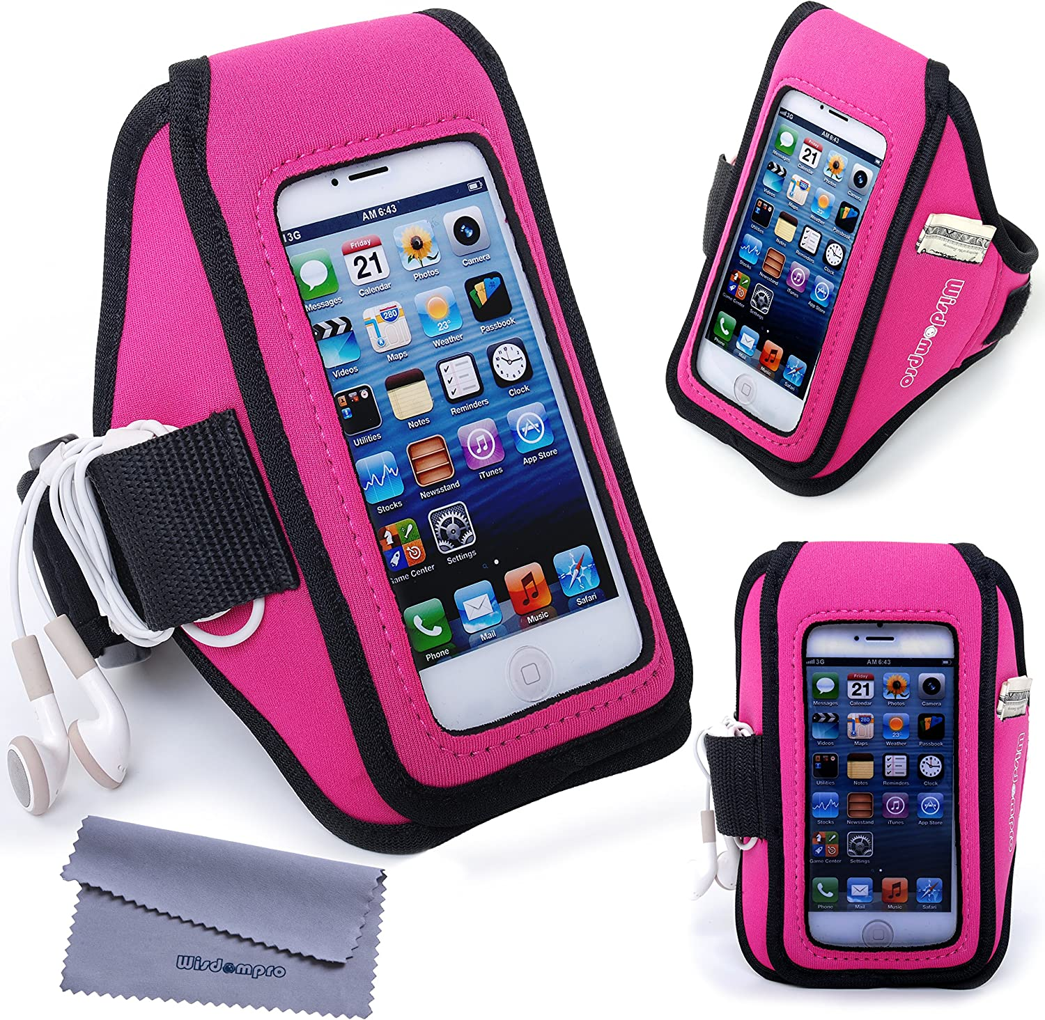 iPhone 5s Armband, iPhone SE Armband, Wisdompro Sports Running Armband Case with Headphones Organizer, Key Holder for Apple iPhone SE, 5, 5s, 5c and iPod Touch 5, 6, Touch 7 (Hot Pink and Black)