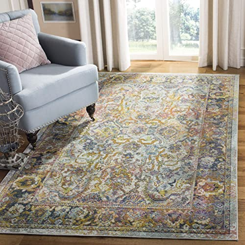 Safavieh Crystal Collection CRS504A Area Rug, 9 x 12 , Light Blue Orange